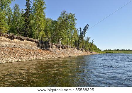 River Landscape In The Urals.