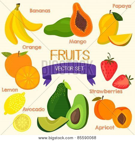 Bright Fruits Set In Vector.banana, Mango, Papaya, Orange, Lemon, Strawberry, Avocado And Peach