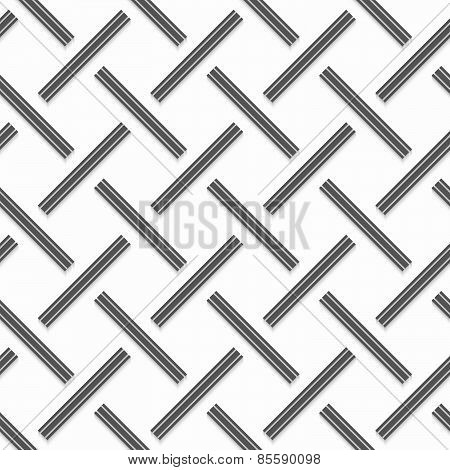 Geometrical Pattern With Gray Beveled Lines On White