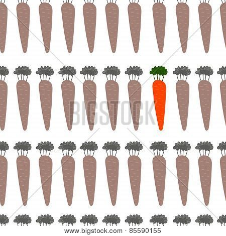 Beautiful Seamless Pattern With Carrots In Vector. Cute Background In Monotone Colors With Color Acc