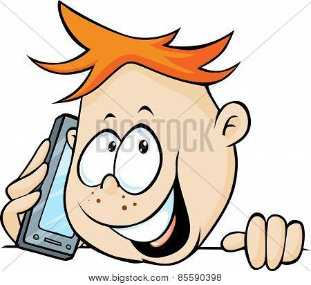 Boy Calling With Mobile Phone, Peeking Out - Vector Illustration