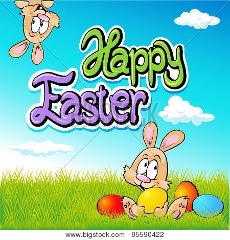 Happy Easter Text- Design With Bunny, Eggs And Spring Background