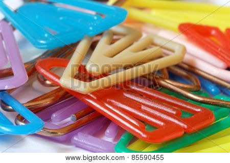 Colorful Paper Clips Closeup