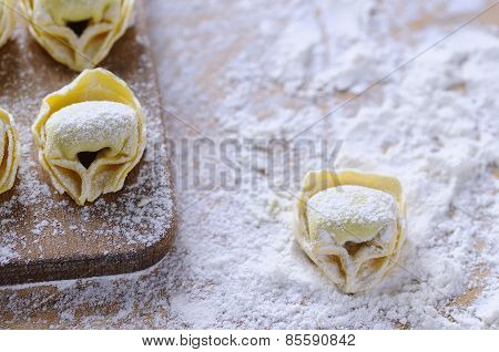 Preparing Homemade Tortellini.