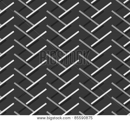 Monochrome Pattern With Diagonal Gray Doubled Stripes Forming Chevron