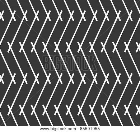 Monochrome Pattern With Gray Intersecting Lines Forming Vertical Zigzag