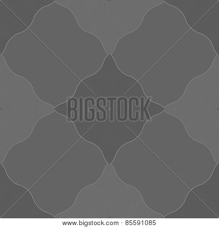 Monochrome Pattern With Gray Wavy Guilloche Squares
