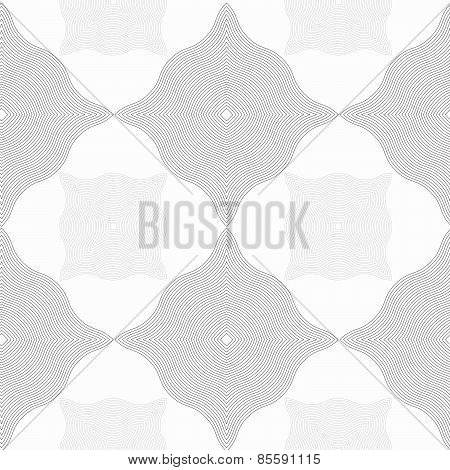 Monochrome Pattern With Light And Dark Gray Wavy Guilloche Squares