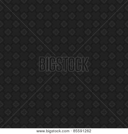 Monochrome Pattern With Small Rounded Crosses And Big Intersecting Rounded Crosses