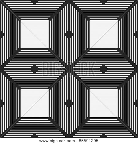 Monochrome Pattern With Thin Black Intersecting Lines And White Squares
