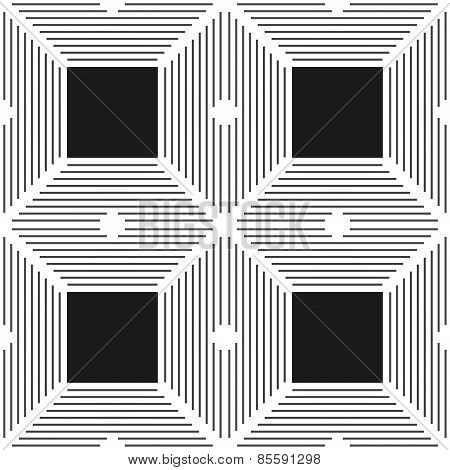 Monochrome Pattern With Thin Gray Intersecting Lines And Black Squares
