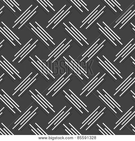 Monochrome Pattern With White And Gray Diagonal Uneven Stripes With Offset