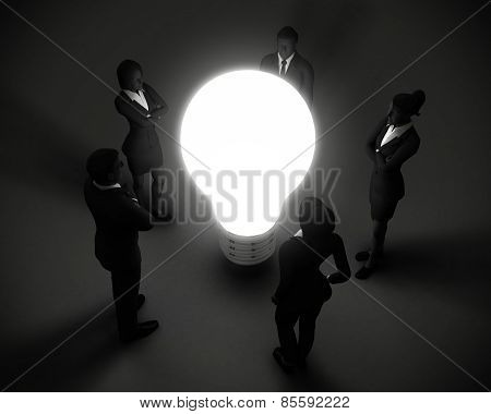 Executive team around light bulb of ideas.