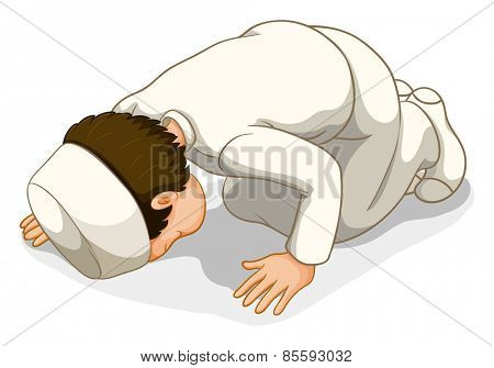Male muslim in white costume praying