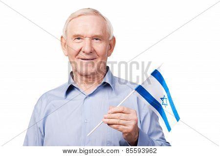 Senior Man With Israeli Flag.