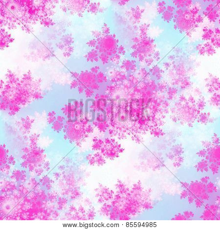 Pink fractal rosebuds seamless pattern on whitish background