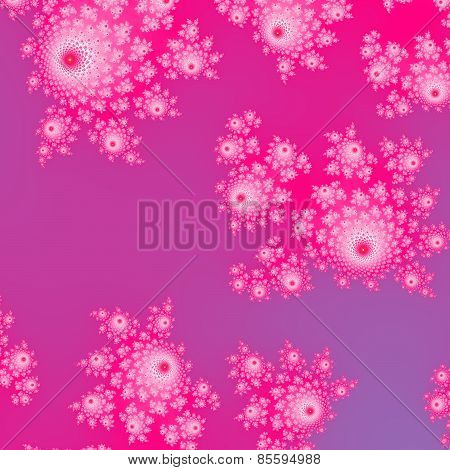 Pink fractal decorative pattern with cute rosebud shapes