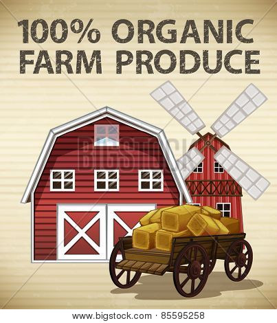 Organic farm produce with barn and windmill