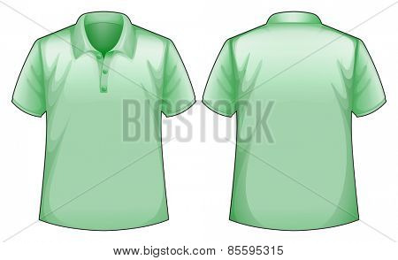 Front and back view of a green shirt