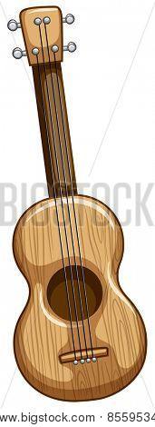 Single wooden ukulele with strings on
