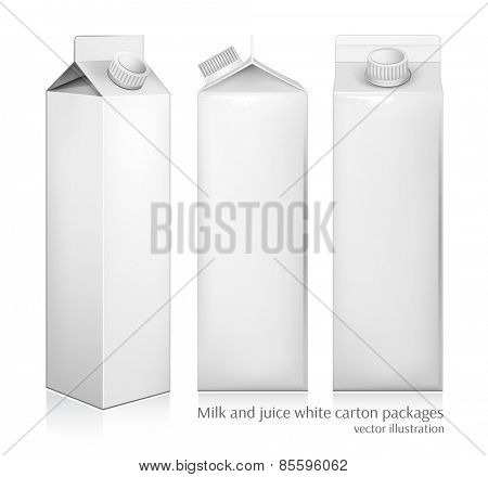 Milk and juice white carton packages. Vector illustration.