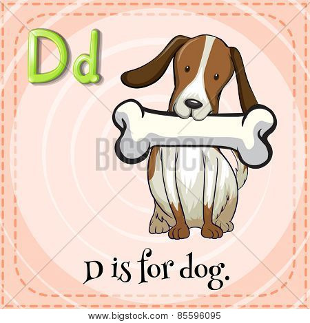 Flash card letter D is for dog