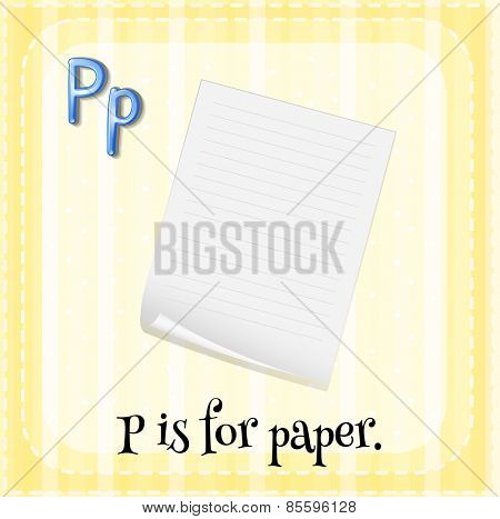 Flash card letter P is for paper