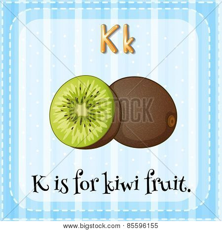 Flash card letter K is for kiwi fruit