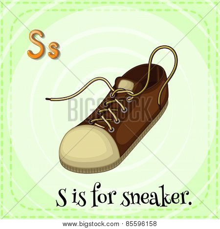 Flash card letter S is for sneaker