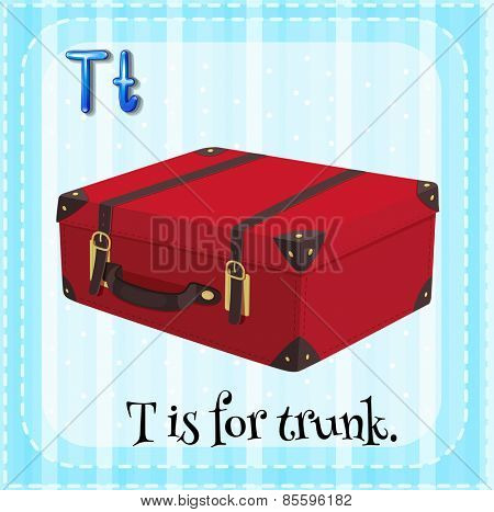 Flash card letter T is for trunk