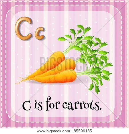 Flash card letter C is for carrots