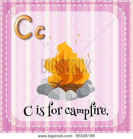 Flashcard letter C is for campfire
