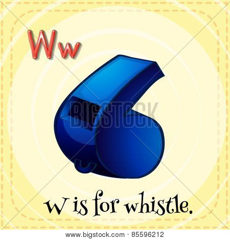 Flash card letter W is for whistle