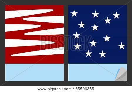 Workbook cover template with red white pattern and blue pattern with white stars