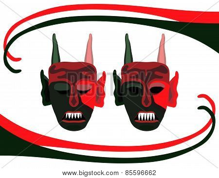 Background with red green scary devils masks