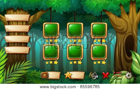 Computer game template with forest scene