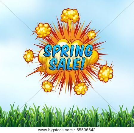 Spring sale sign with nature background