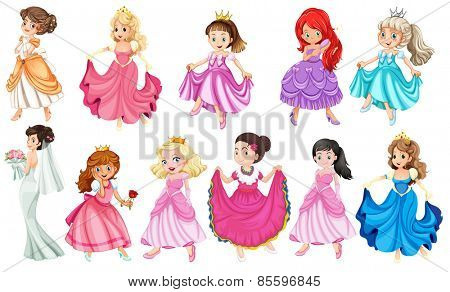 Princess in different beautiful dresses