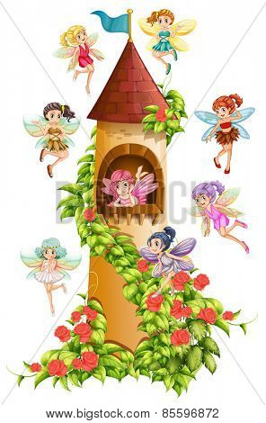 Fairies flying around the castle tower