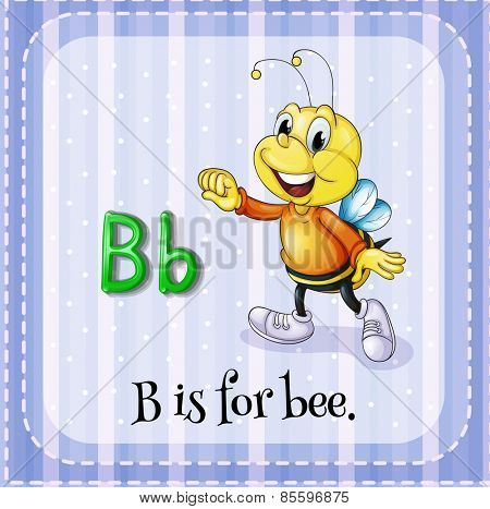 Flash card letter B is for bee