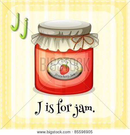 Flash card letter J is for jam