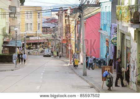 View Of The Streets Of Valparaiso.