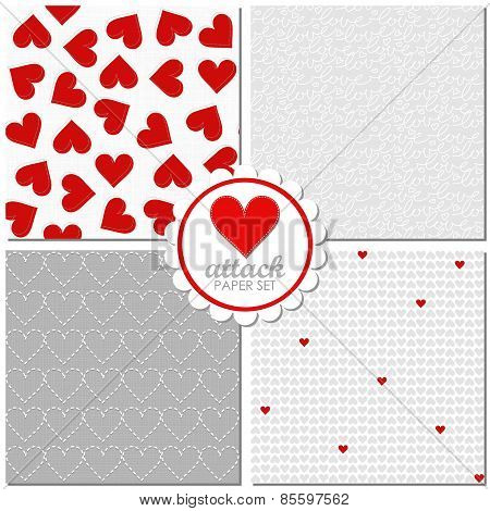 heart attack lovely romantic red gray white Valentines Day seamless pattern set