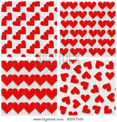 red hearts rows couples mess lovely romantic red gray white Valentines Day seamless pattern set