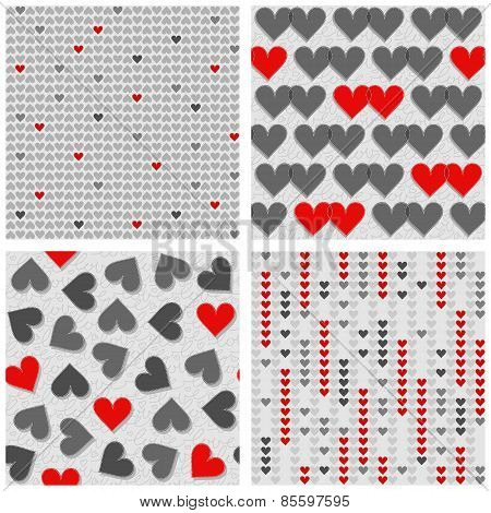 red and gray hearts rows couples mess lovely romantic red gray white Valentines Day seamless pattern