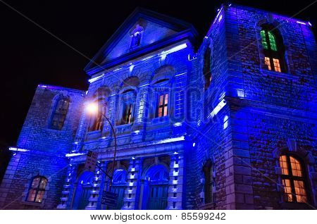 Blue Lights On Church Facade