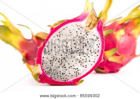 Close-up shot of dragon fruit, isolated on white background