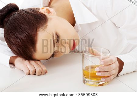 Woman with an alcohol problem.
