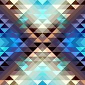 picture of aztec  - Seamless geometric abstract pattern in aztecs style on stripes background - JPG