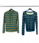picture of clothes hanger  - Set of two female clothing on hangers  - JPG